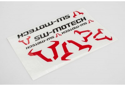 SW-Motech Logo And Bull Sticker Set - Black and Red WER.GIV.016.10001