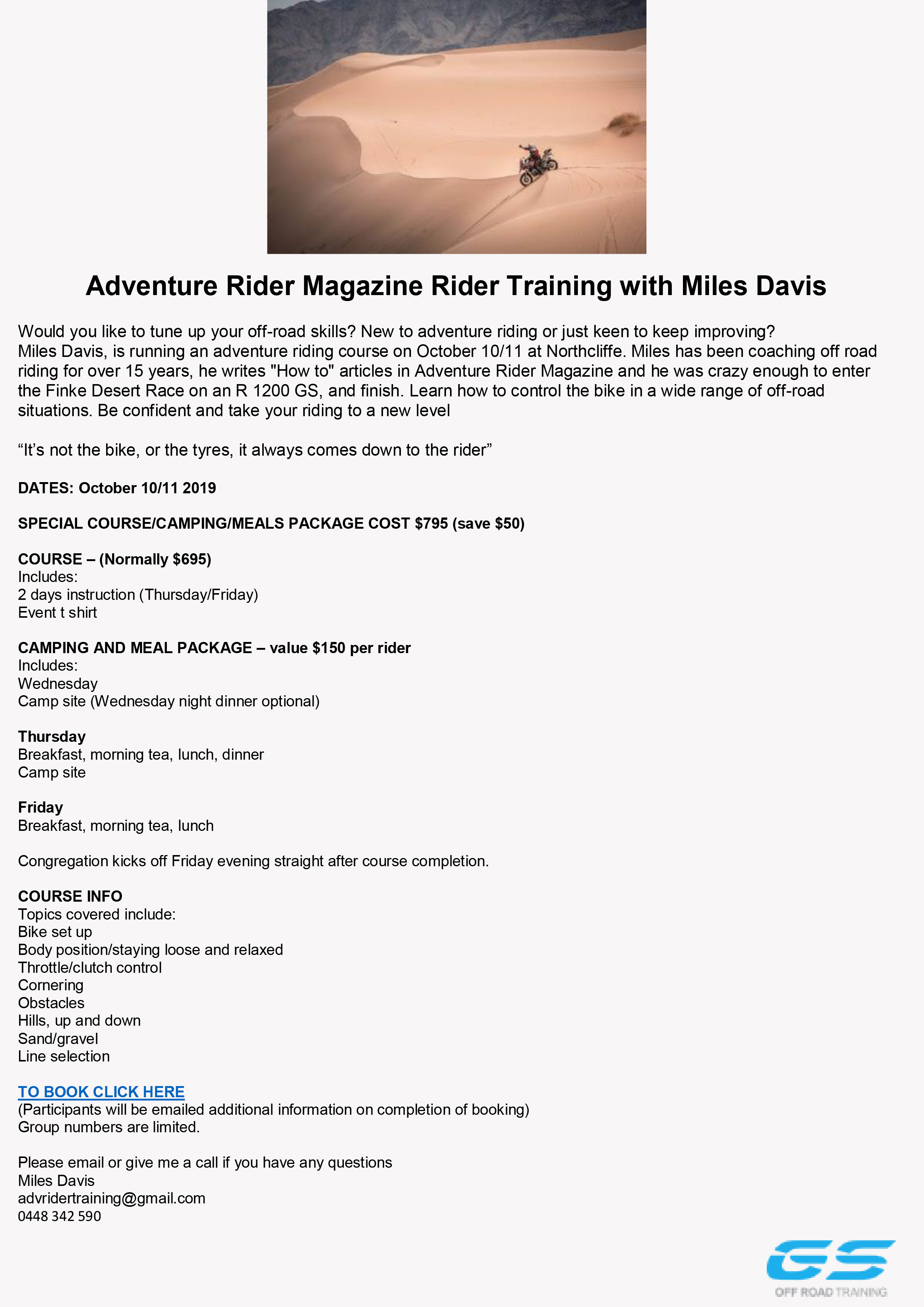 Miles Davis Rider Training