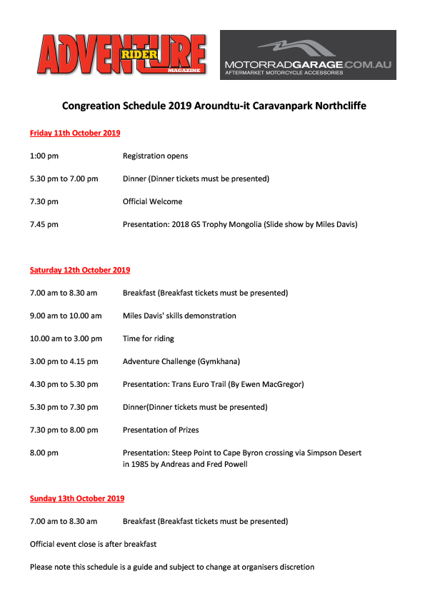 2019 Congregation Schedule
