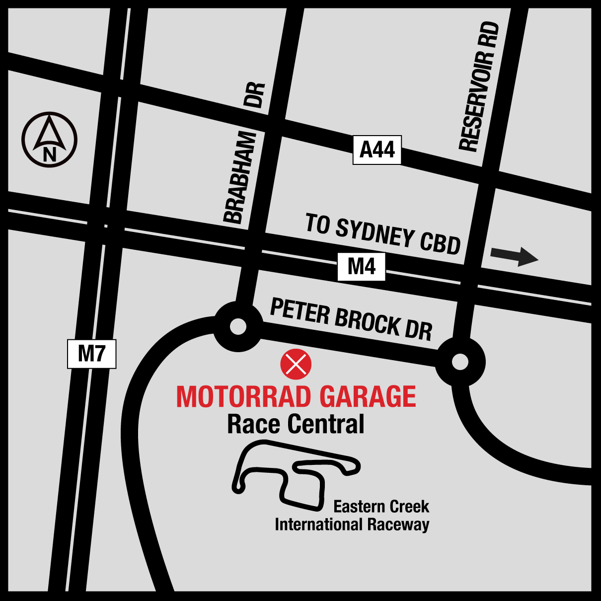 Motorrad Garage Eastern Creek Map