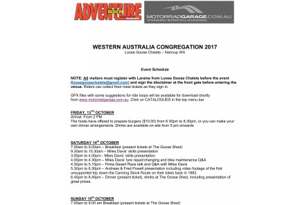 Event Schedule - Adventure Rider Magazine WA Congregation